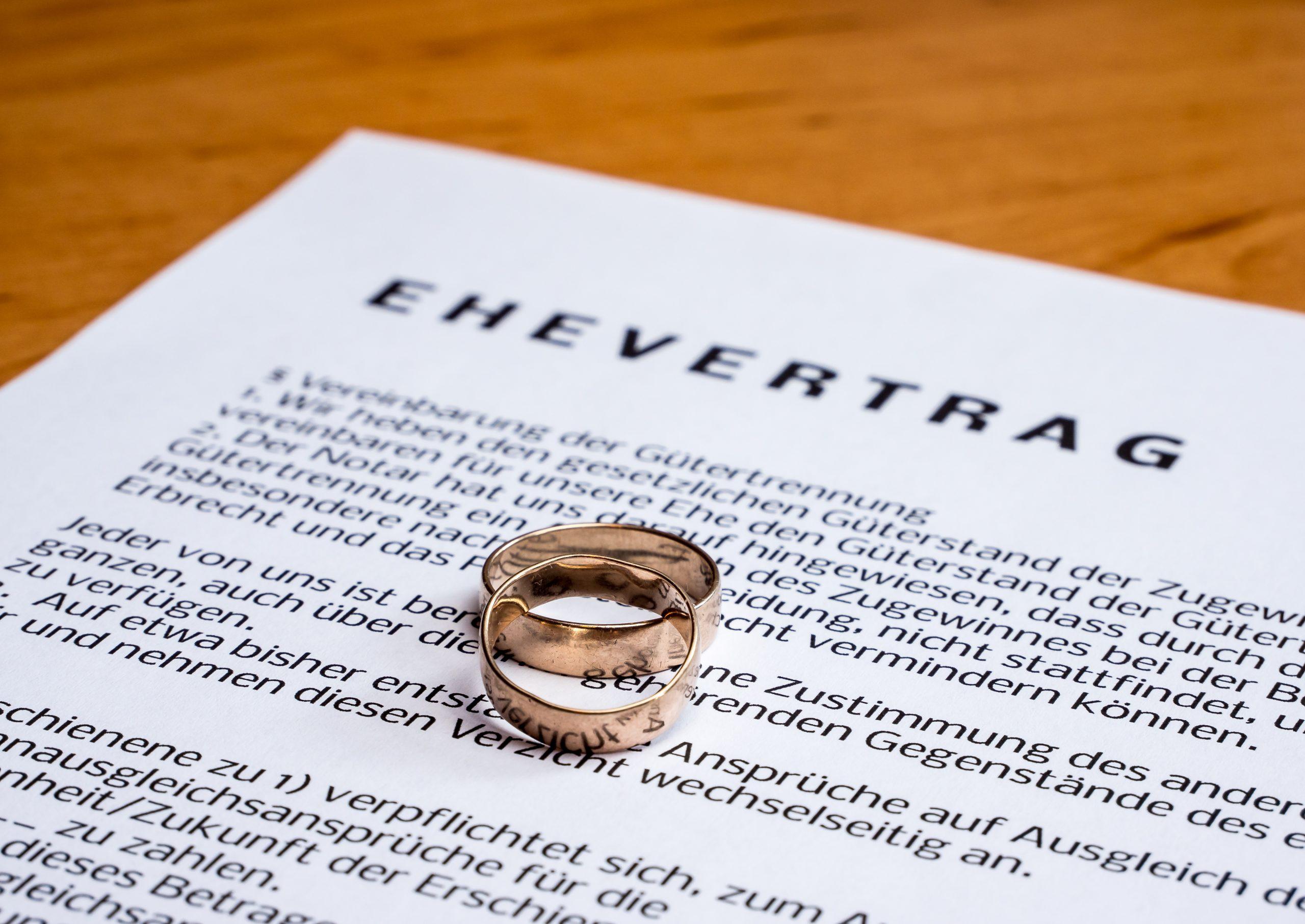 Heirat ehevertrag güterstand ohne Ehevertrag nach